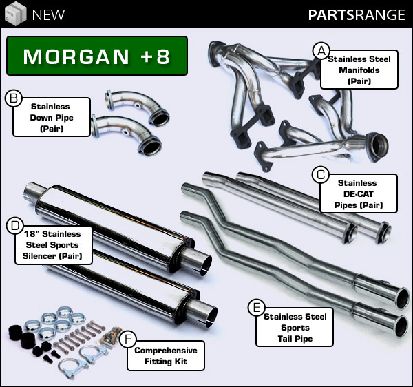 Morgan Plus 8 Full Stainless Steel Exhaust System With De